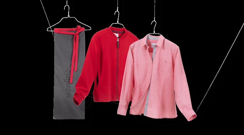 Corporate Fashion für die Gastronomie. Schürze Fleecejacke und Hemd für Marche.