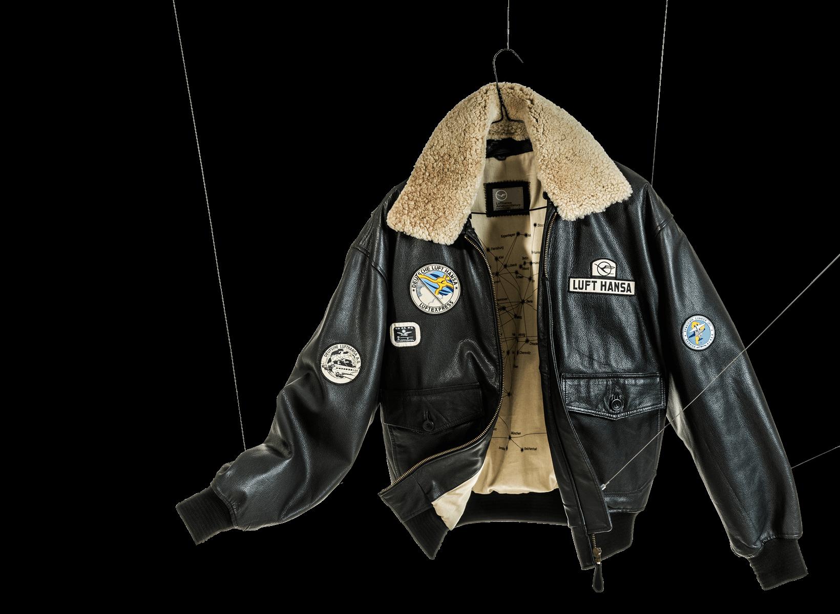 Corporate Fashion Beispiel. Lufthansa Piloten Jacke mit Patches an Fäden aufgehängt