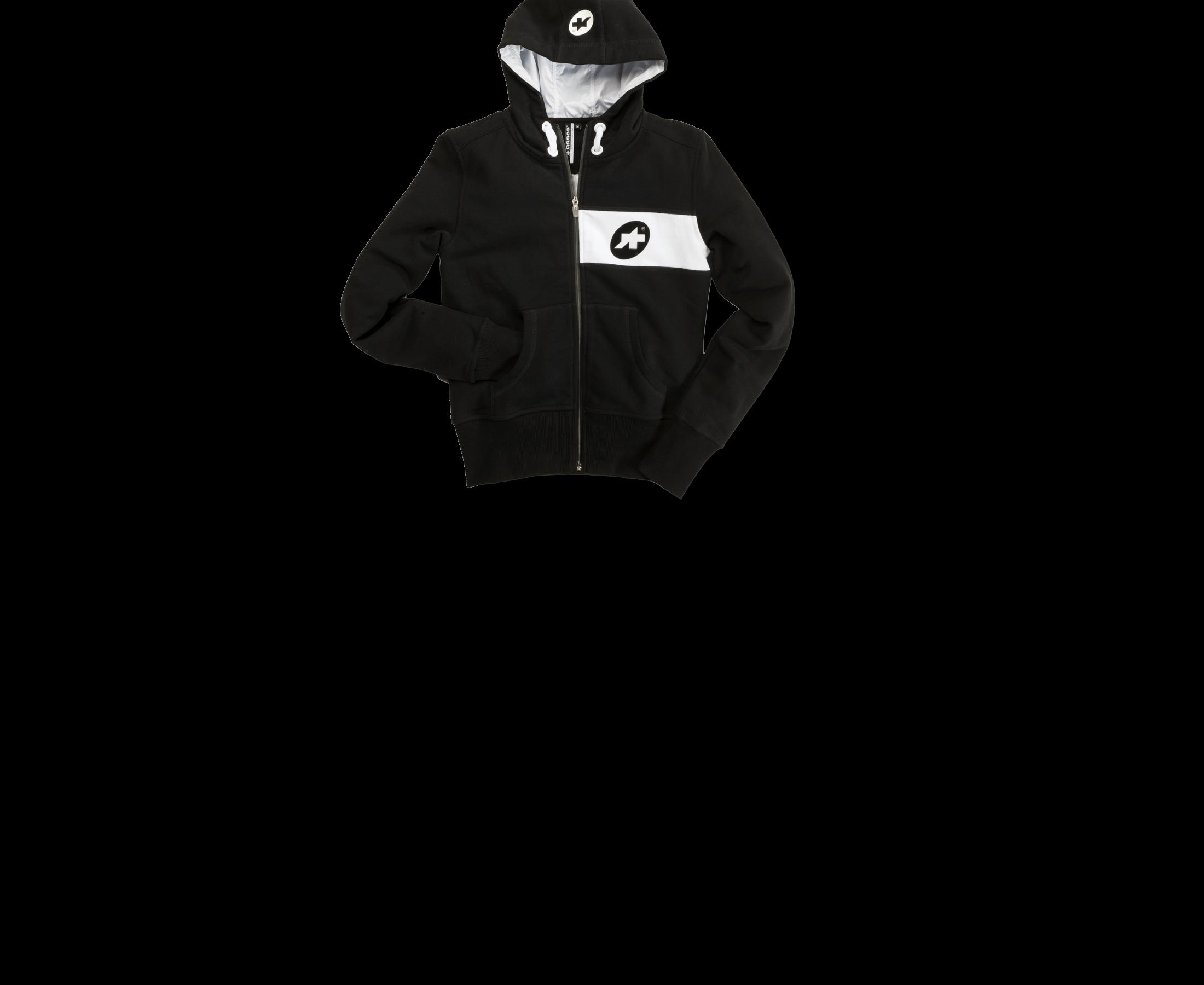 Assos Hoodie in schwarz mit weißen Applikationen.