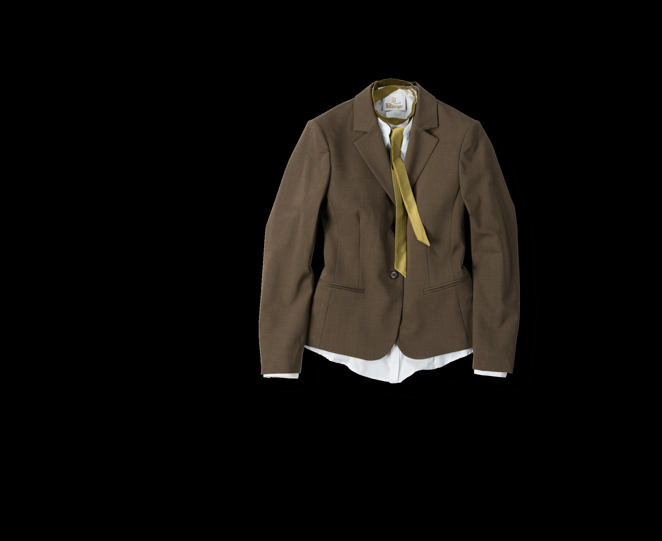 Bitburger Blazer in braun mit weißer Bluse. Beispiel für Sonderanfertigungen