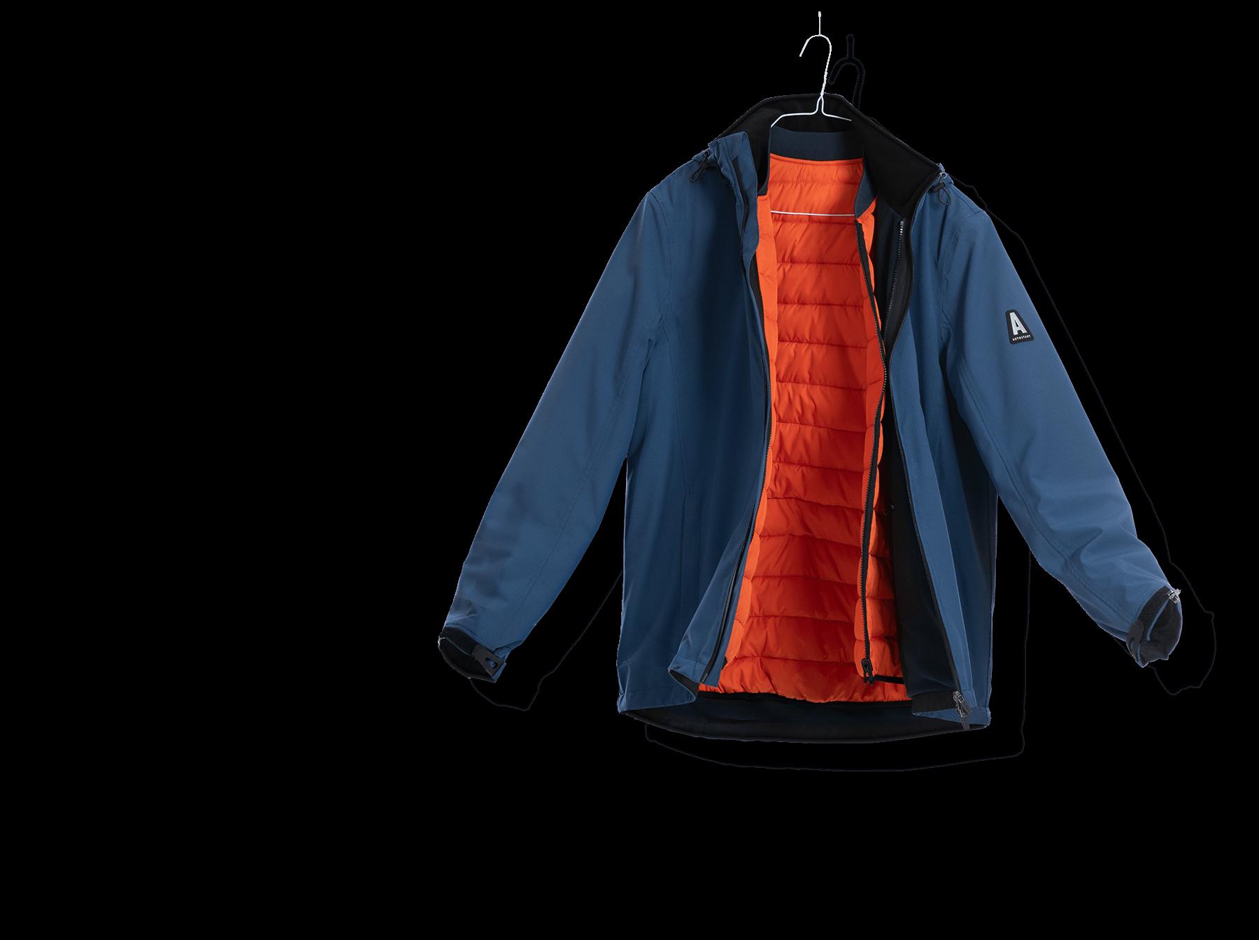 Blau und orangene Arbeitskleidung Jacke individuell für die Autostadt