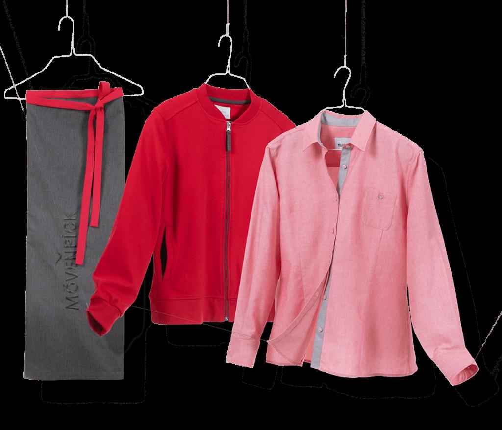 Graue Schürze, Rote Arbeitsjacke und passende Bluse für die Systemgastronomie