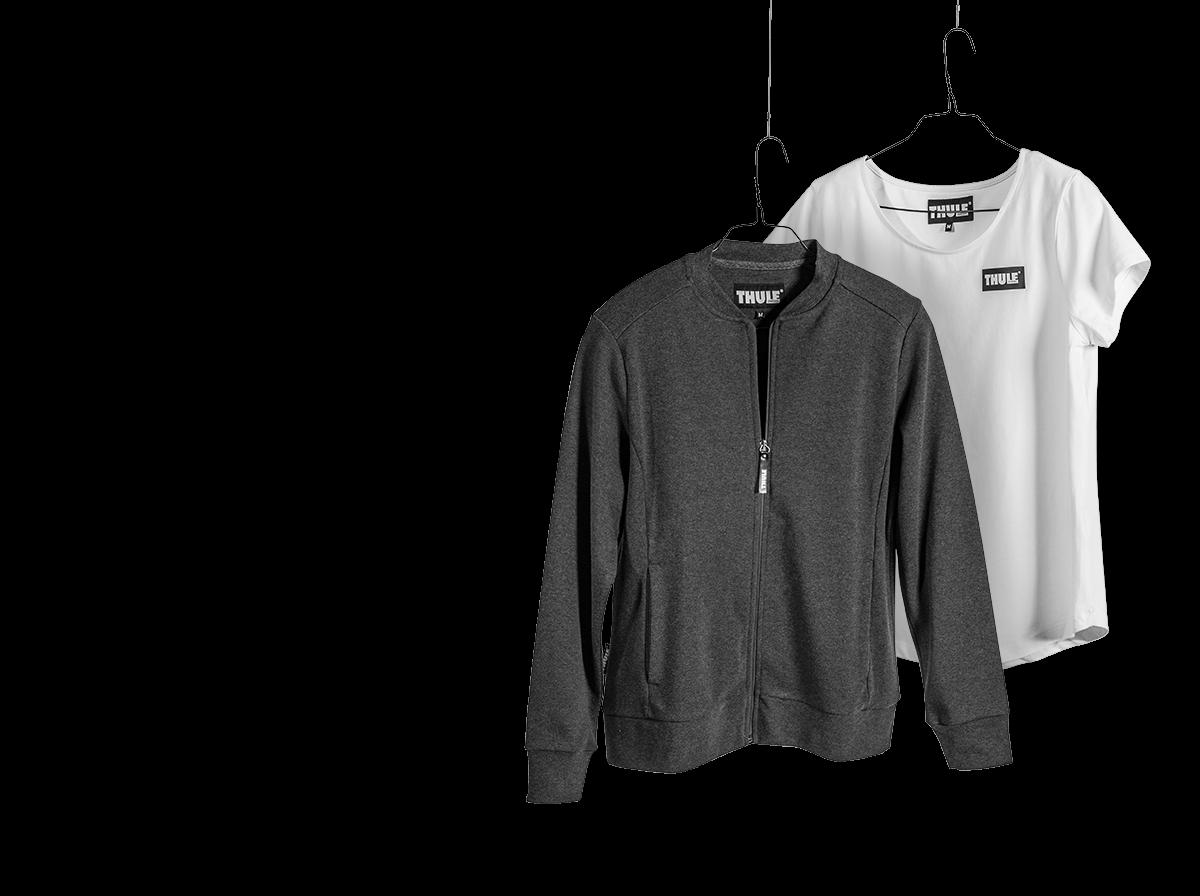 Firmenbekleidung mit Logo für Thule in weiß und grau