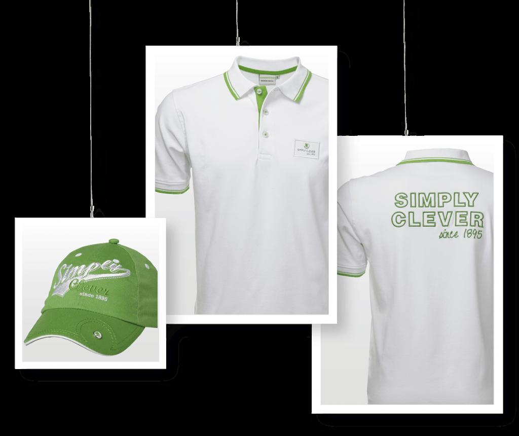 Drei Bilder von Poloshirts und Cap für Skoda als Firmenbekleidung