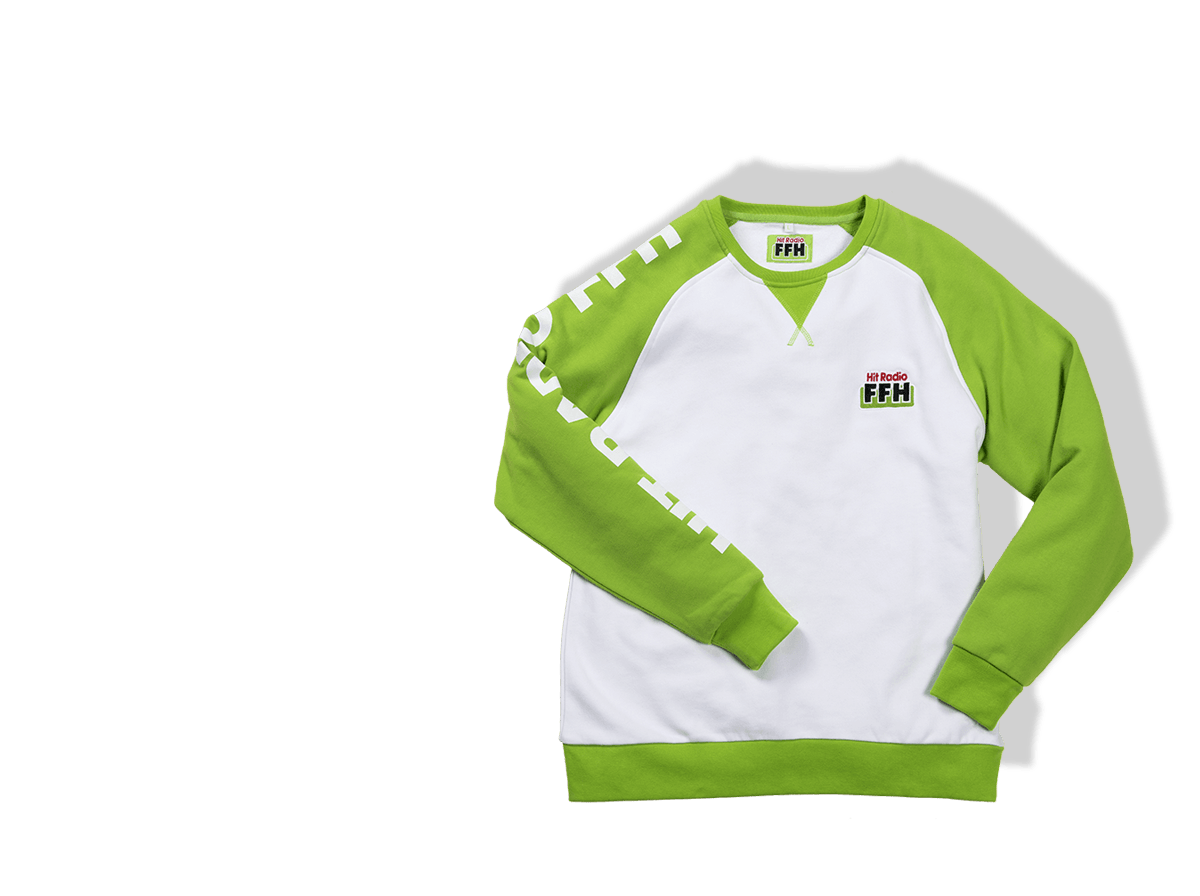 Kleidung für Medien illustriert durch einen weiß grünen Pullover für FFH