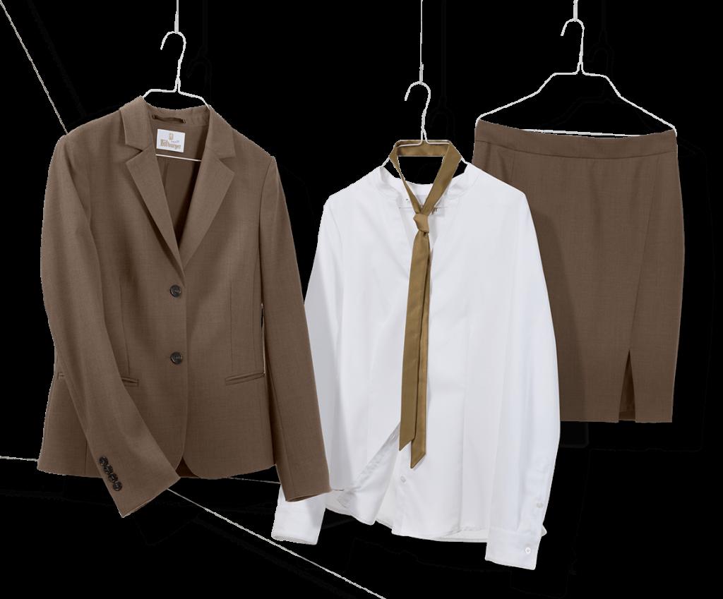 Braune Blazer und Rock mit weißer Bluse für die Mitarbeiter auf Messen