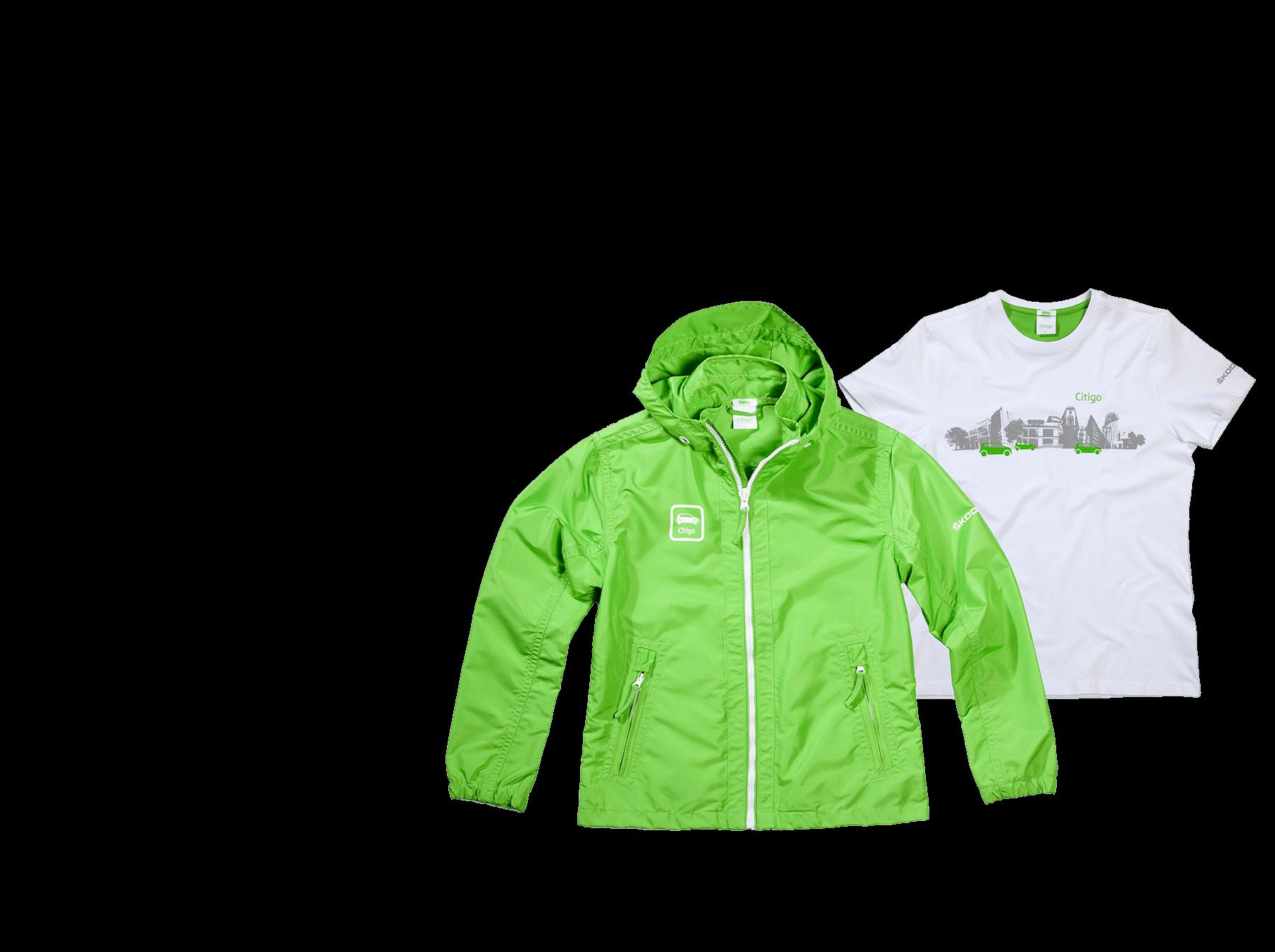 Skoda Citigo Promotion Bekleidung in weiß und grün