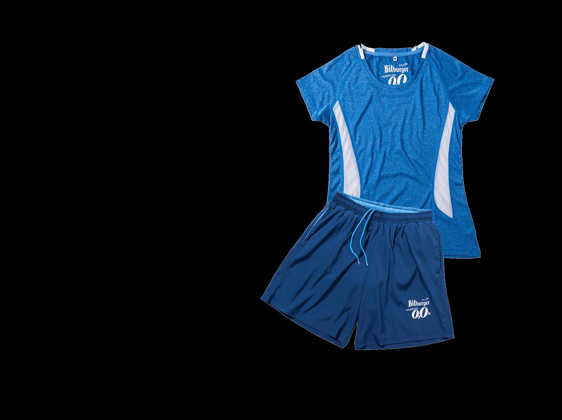 Bekldiung für Teams. Blaues Shirt und Sporthose