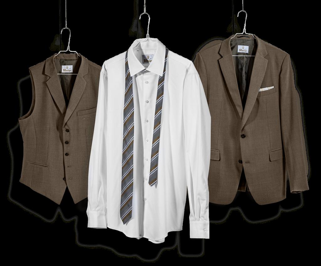 Braune Weste, weißes Hemd, gestreifte Krawatte und braunes Sakko